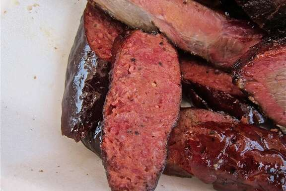 Beef sausage from Brooks' Place BBQ trailer in Cypress.