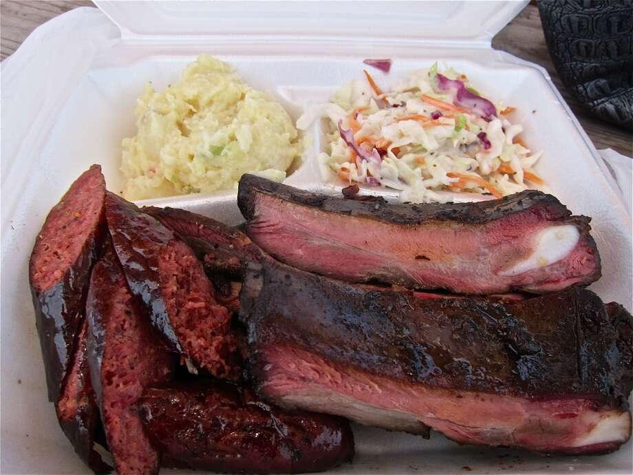 Three-meat plate with sausage, ribs and brisket at Brooks' Place BBQ trailer. Photo: Alison Cook