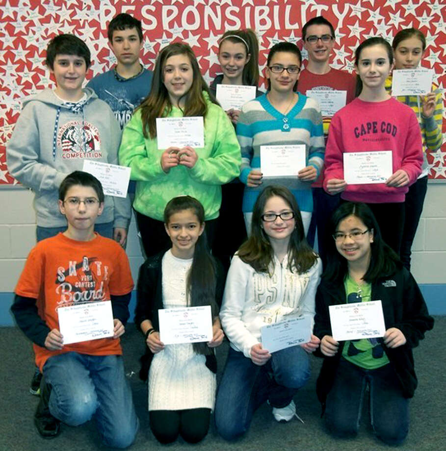 These seventh-graders were honored as students of the month for March at Schaghticoke Middle School in New Milford. For more information, call the school at 860-354-2204.  Courtesy of Schaghticoke Middle School Photo: Contributed Photo