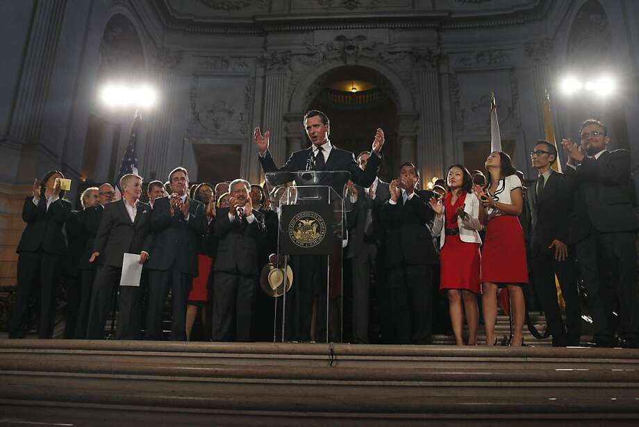 Lt. Gov. Gavin Newsom, who as mayor declared same-sex marriage legal in San Francisco in 2004, speaks at City Hall after the Supreme Court rulings. Photo: Lea Suzuki, The Chronicle