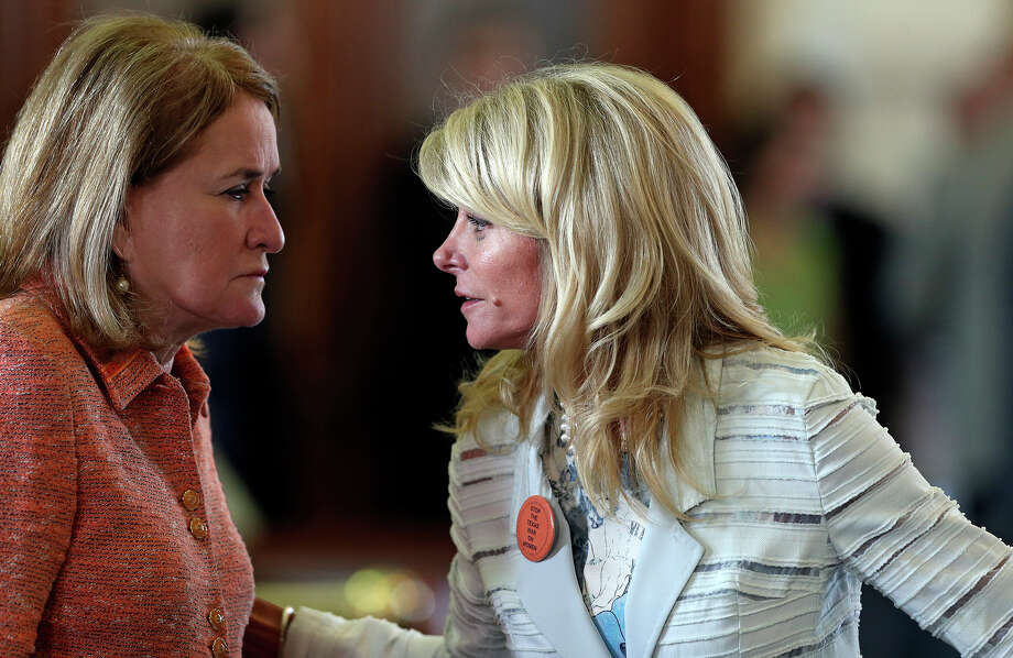 Sylvia Garcia D-Houston makes an attempt to aid Fort Worth Senator Wendy Davis as she filibusters in an effort to cause abortion legislation to die without a vote on the floor of the Senate Tuesday, June 25, 2013. Photo: TOM REEL