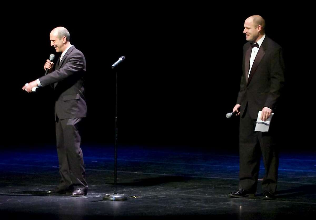 """Michael Pelazza and Pat Sasser announce the upcoming acts at Mayor Michael Pavia's """"A Thousand Stars Shine Together"""", A Gala Inagural Celebration at The Palace Theater in Stamford, Conn. on Friday, Jan. 15, 2010."""