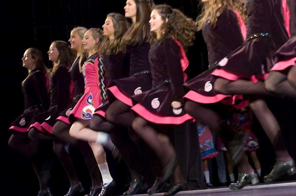 """Dancers from the Pender-Keady Academy of Irish Dancing, of Stamford, perform Riverdance at Mayor Michael Pavia's """"A Thousand Stars Shine Together"""", A Gala Inagural Celebration at The Palace Theater in Stamford, Conn. on Friday, Jan. 15, 2010."""