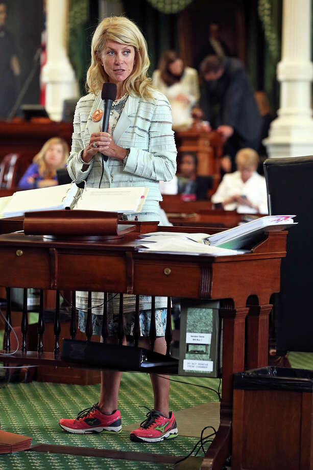 Fort Worth Senator Wendy Davis filibusters in an effort to cause abortion legislation to die without a vote on the floor of the Senate Tuesday, June 25, 2013. Photo: TOM REEL