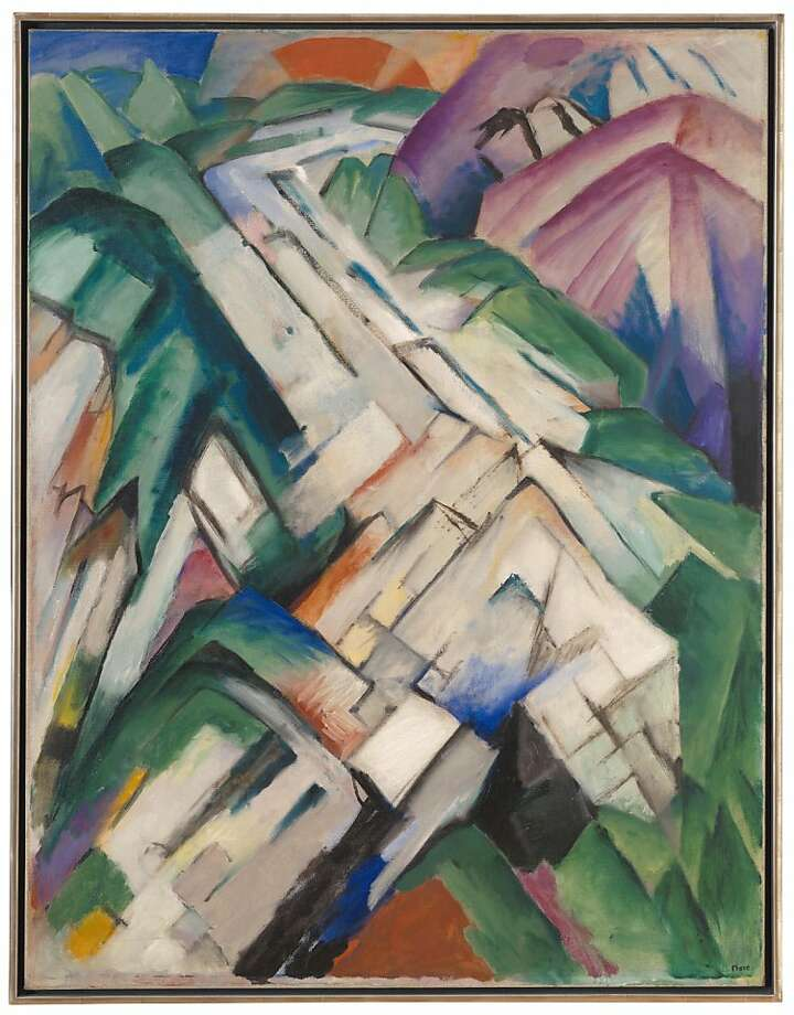 """Mountains,"" (1911-12) oil on canvas, is by Franz Marc, an artist in ""Beyond Belief."" Photo: Ben Blackwell"