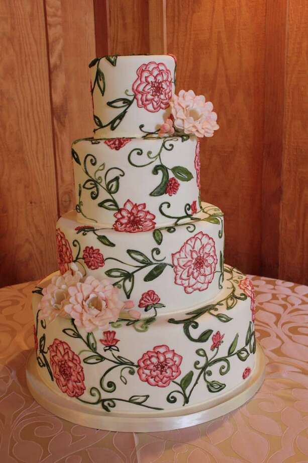 """Pink blooms"" - hand piped buttercream flower and leaf relief with hand made sugar blooms by Cake Coquette."