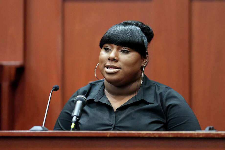 Rachel Jeantel, the witness that was on the phone with Trayvon Martin just before he died, gives her testimony to the prosecution during George Zimmerman's trial in Seminole circuit court in Sanford, Fla. Wednesday, June 26, 2013. Zimmerman has been charged with second-degree murder for the 2012 shooting death of Trayvon Martin.(AP Photo/Orlando Sentinel, Jacob Langston, Pool) Photo: Jacob Langston, POOL / Pool Orlando Sentinel