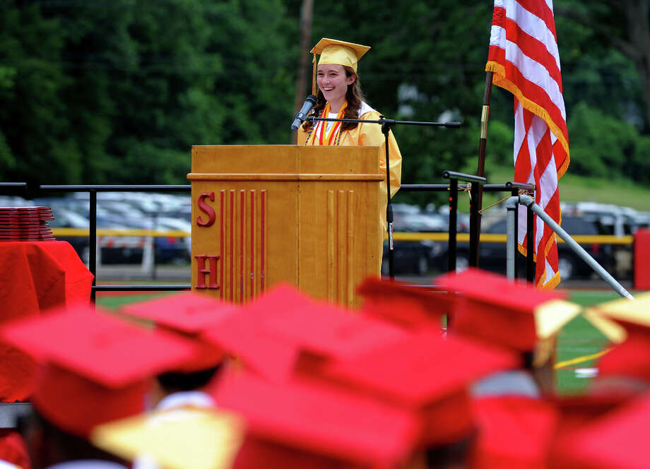 Graduate Emily Eckel gives the Salutatorian Address during Stratford High School's 124th Annual Commencement in Stratford, Conn. on Wednesday June 26, 2013. Photo: Christian Abraham / Connecticut Post