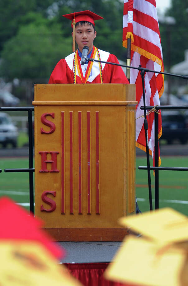 Graduate Daniel Hong gives the Valedictorian Address during Stratford High School's 124th Annual Commencement in Stratford, Conn. on Wednesday June 26, 2013. Photo: Christian Abraham / Connecticut Post