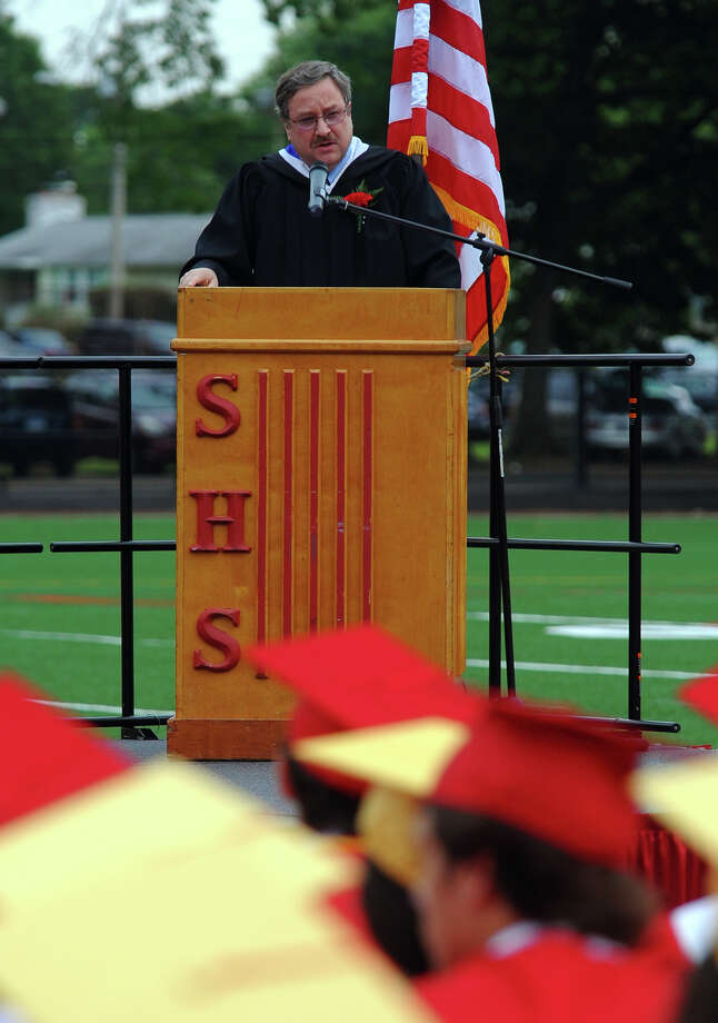 Gavin Forrester III, Chairman of Stratford Board of Education, speaks during Stratford High School's 124th Annual Commencement in Stratford, Conn. on Wednesday June 26, 2013. Photo: Christian Abraham / Connecticut Post