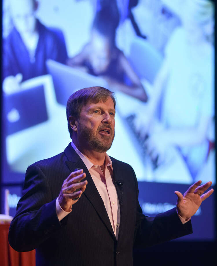 Superintendent of the Year Mark Edwards tells the International Society for Technology Education conference about how technology innovations helped raise test scores and graduation rates in his North Carolina district. Photo: Robin Jerstad / For The San Antonio Express-News
