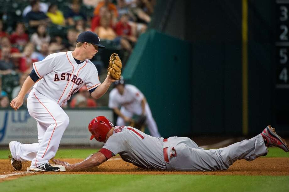 June 26: Astros 4, Cardinals 3Cardinals left fielder Matt Holliday is safe after stealing third base.