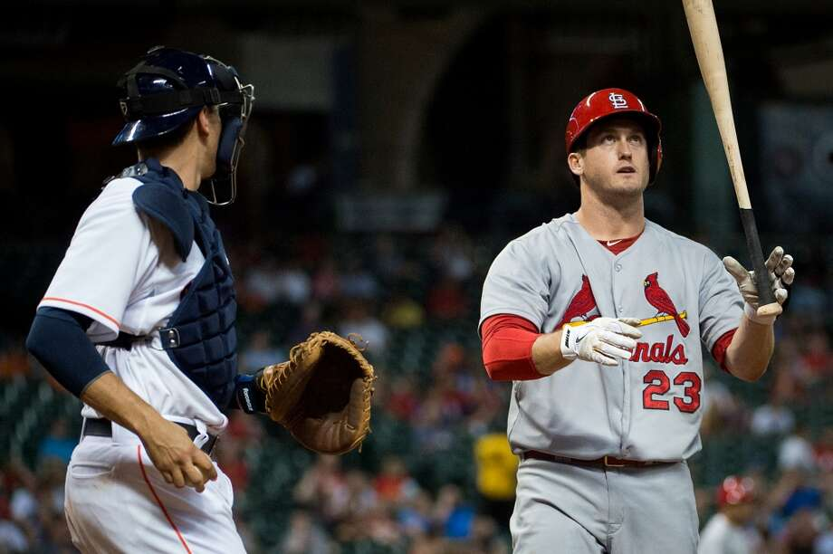 Cardinals third baseman David Freese reacts after striking out.