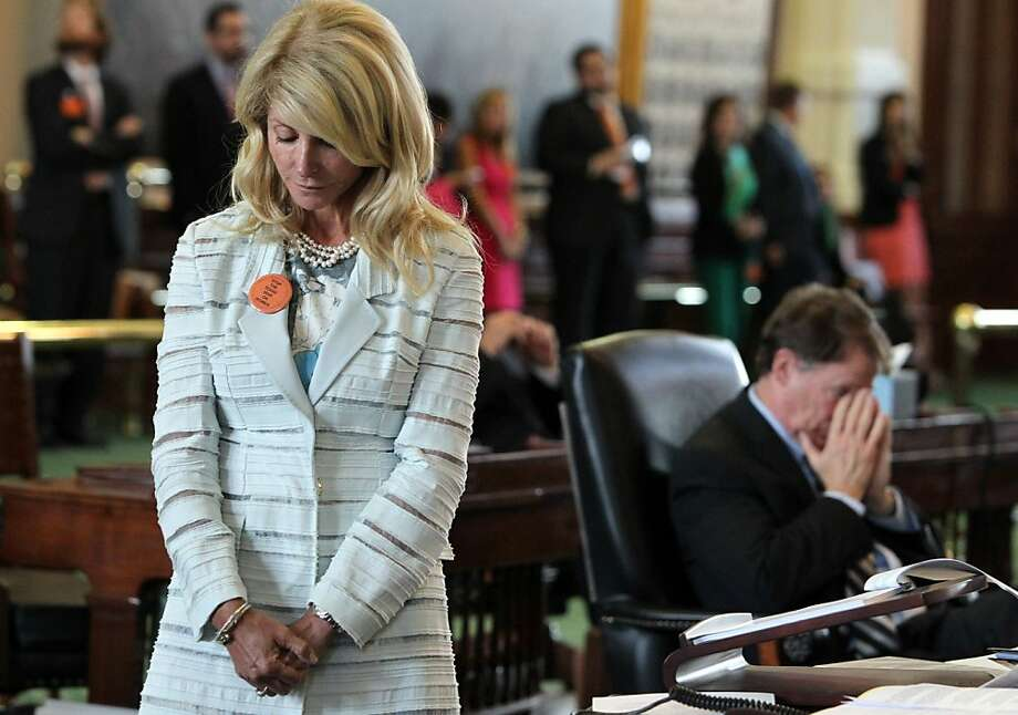 State Senator Wendy Davis awaits the ruling for the point of order about Senator Rodney Ellis and the back brace during the filibuster during the final day of the legislative special session, as the Senate considers an abortion bill, June 25, 2013, in Austin, Texas. (Louis DeLuca/Dallas Morning News/MCT) Photo: Louis DeLuca, McClatchy-Tribune News Service