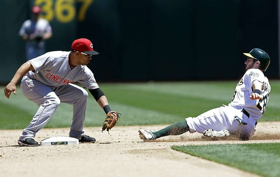 Oakland Athletics' Eric Sogard, right, is slides on an attempted steal as Cincinnati Reds second baseman Cesar Izturis prepares to make the tag during the fourth inning of a baseball game Wednesday, June 26, 2013 in Oakland, Calif. (AP Photo/Marcio Jose Sanchez) Photo: Marcio Jose Sanchez, Associated Press