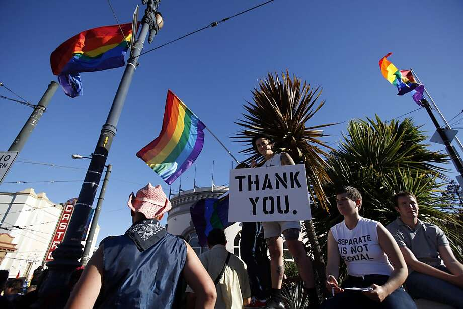 Thousands gathered in the Castro district of San Francisco, Calif., on June 26, 2013, to celebrate the dismissal of the appeal of Proposition 8 by the U.S. Supreme Court. Photo: Carlos Avila Gonzalez, The Chronicle