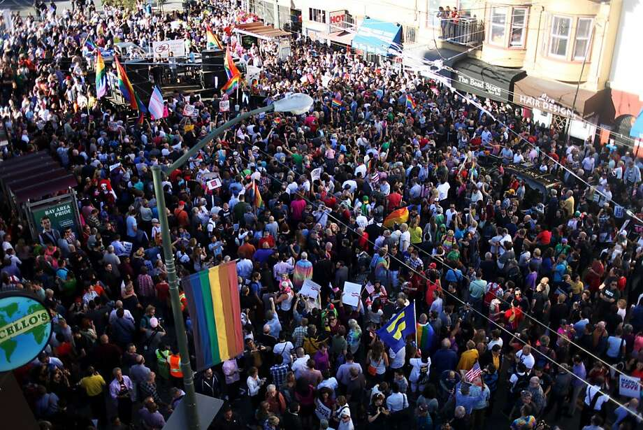 People swarm Castro Street in a celebration of the Supreme Court's ruling on Proposition 8 and DOMA on June 27, 2013 in the Castro neighborhood of San Francisco, Calif. With the court's ruling, gay marriage will again be legal in San Francisco. Photo: Pete Kiehart, The Chronicle