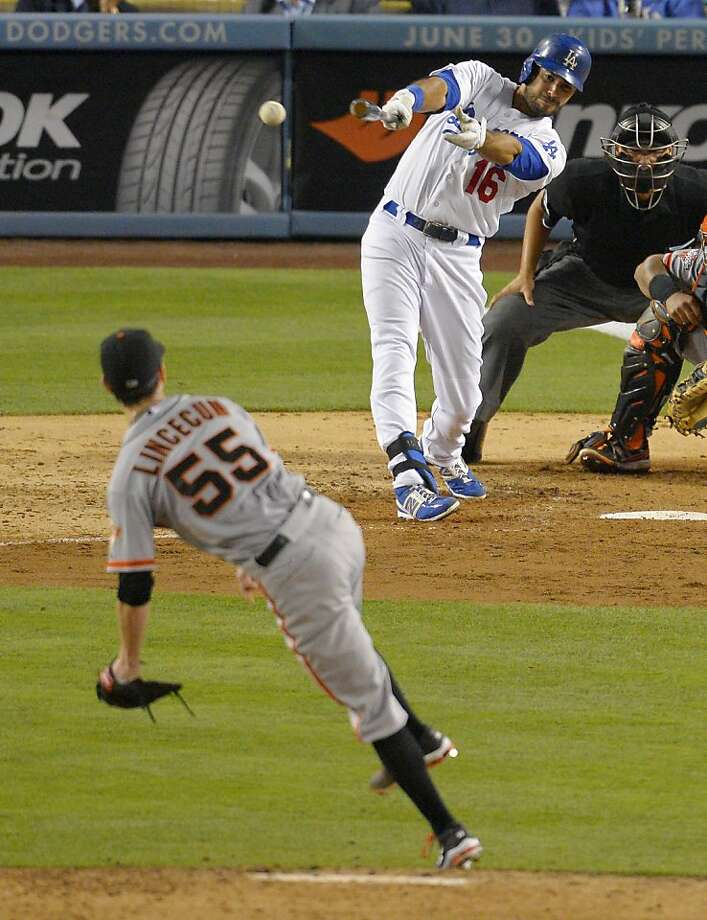 Andre Ethier's RBI single was a part of Tim Lincecum's sixth-inning meltdown. Photo: Mark J. Terrill, Associated Press