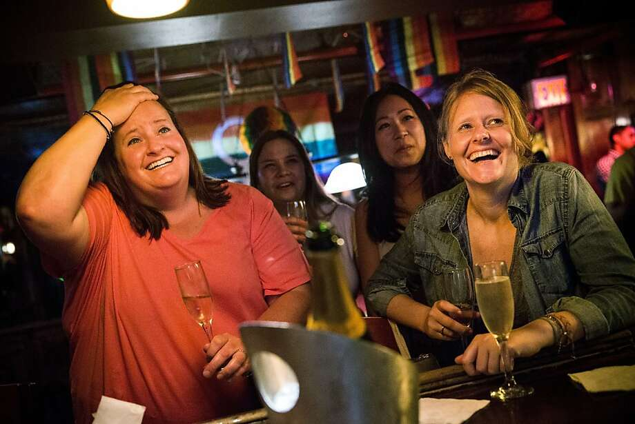 NEW YORK, NY - JUNE 26:  (L-R) Rachel Howald, Kate Lummus, Virginia Sin and Gretchen Menter celebrate after the Supreme Court ruled key portions of the Defense of Marriage Act (DOMA) unconstitutional, at the Stonewall Inn on June 26, 2013 in the West Village neighborhood of New York City. The Stonewall Inn became historically important in the Lesbian-Gay-Bigender-Transgender community after playing a key role during the Gay-rights movement of the 1960s and 1970s. The high court ruled to strike down DOMA and determined the California's proposition 8 ban on same-sex marriage was not properly before them, declining to overturn the lower court's striking down of the law.  (Photo by Andrew Burton/Getty Images) Photo: Andrew Burton, Getty Images