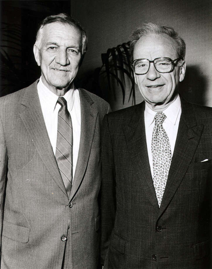 News media baron Rupert Murdoch (right) with then-Express-News Publisher Charles O. Kilpatrick in 1990. Photo: San Antonio Express-News / SAN ANTONIO EXPRESS NEWS