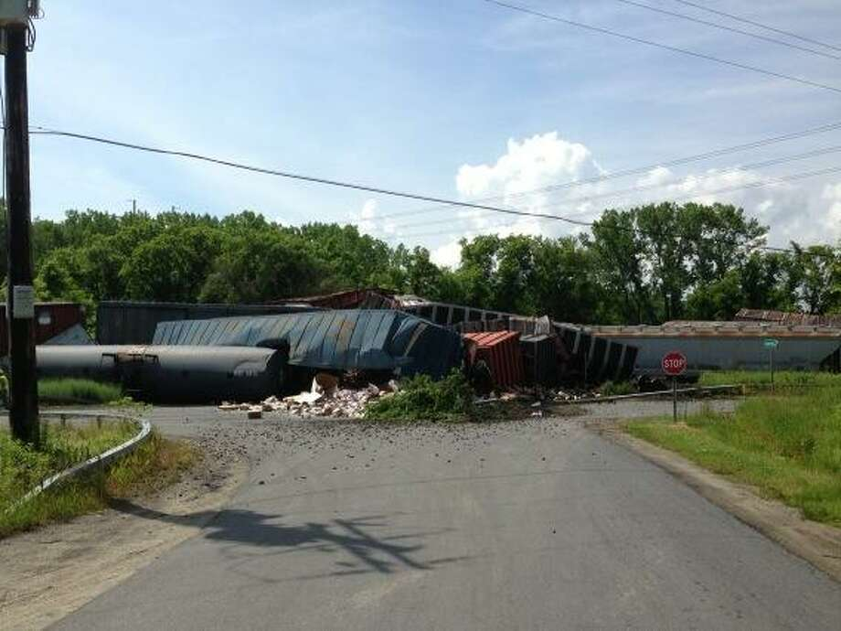 A multi-car train derailment closed a large swarth of Route 5 in the Montgomery County town of Mohawk on Thursday, June 27, 2013. (Skip Dickstein / Times Union)