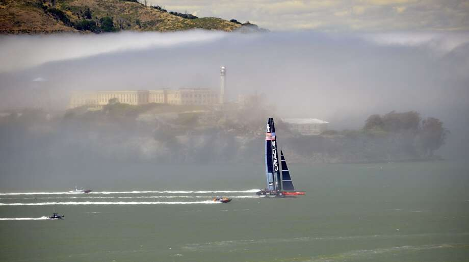 Team Oracle sails their AC-72 Racing Yacht as they test out the course in preparation for the upcoming America's Cup competition on the San Francisco Bay, in San Francisco, California on June, 26, 2013. Photo: JOSH EDELSON, AFP/Getty Images