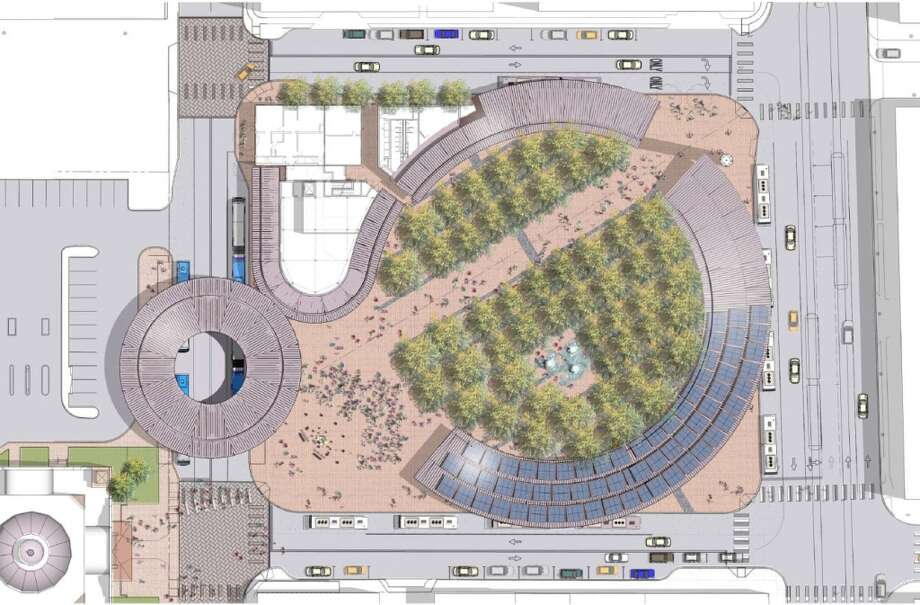 An overhead shot shows the varying types of canopies — both foliage and metal covering the plaza.