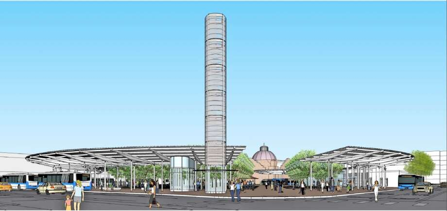A light tower would signal the entrance to the transit center's main plaza.