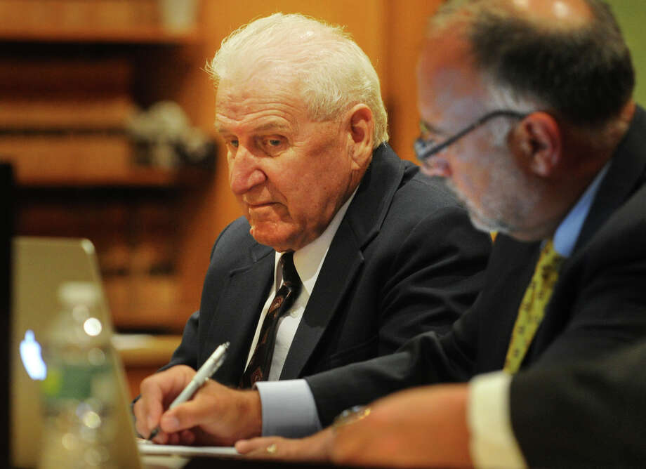 Dominic Badaracco, 77, of Sherman, listens to testimony during his trial in Superior Court in Bridgeport, Conn. on Thursday, June 27, 2013. Badaracco is accused of offering a $100,000 bribe to Judge Robert Brunetti in 2010, to influence a grand jury investigation into the disappearance and presumed murder of Badaracco's second wife, Mary, in 1984. Photo: Brian A. Pounds / Connecticut Post