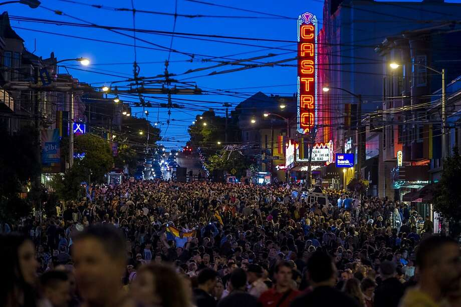 Supporters of same-sex marriage celebrate in the Castro District after the U.S. Supreme Court overturned the Defense of Marriage Act (DOMA) and declined to rule on the California law Proposition 8 in San Francisco, California, U.S., on Wednesday, June 26, 2013. Democratic lawmakers said they'll seek further protections for gay couples after the U.S. Supreme Court struck down part of a federal law denying them benefits, as congressional Republicans signaled that further battles on marriage equality would shift to the states. Photographer: David Paul Morris/Bloomberg Photo: David Paul Morris, Bloomberg