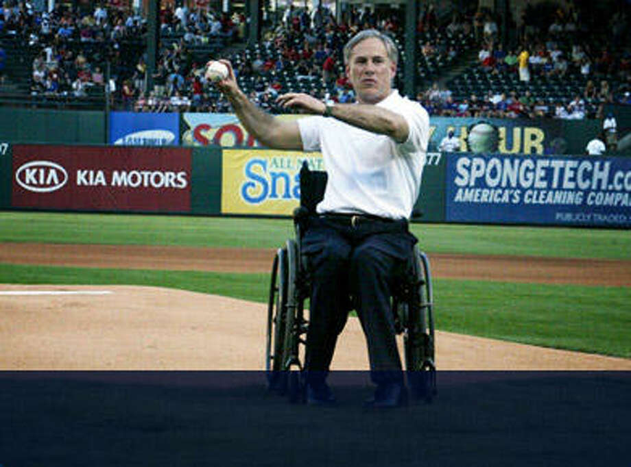 General Greg Abbott threw out the first pitch at a recent Texas Rangers game Photo: Gregabbott.com