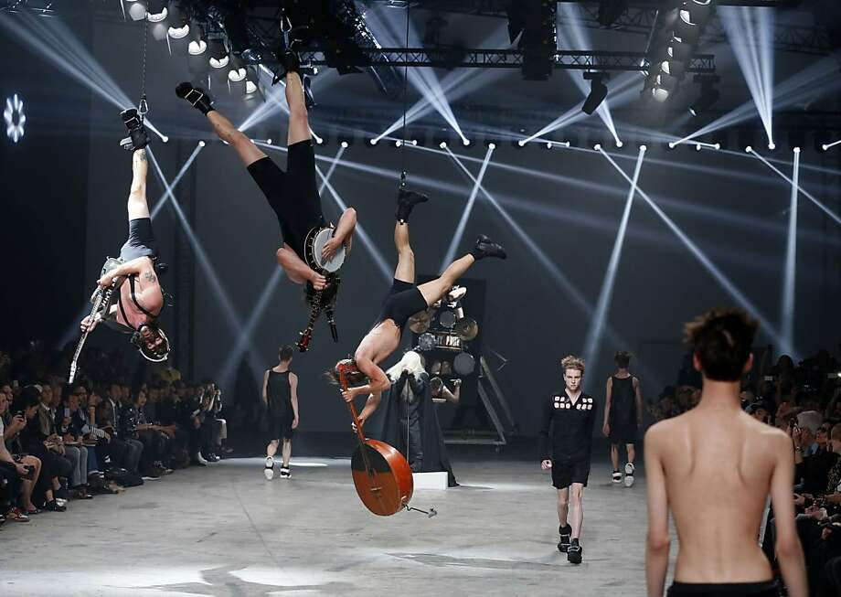 You keep me hangin' on:Where did designer Rick Owens find the band for his men's spring/summer 2014 ready-to-wear fashion show in Paris? The Folsom Street Fair? Photo: Patrick Kovarik, AFP/Getty Images