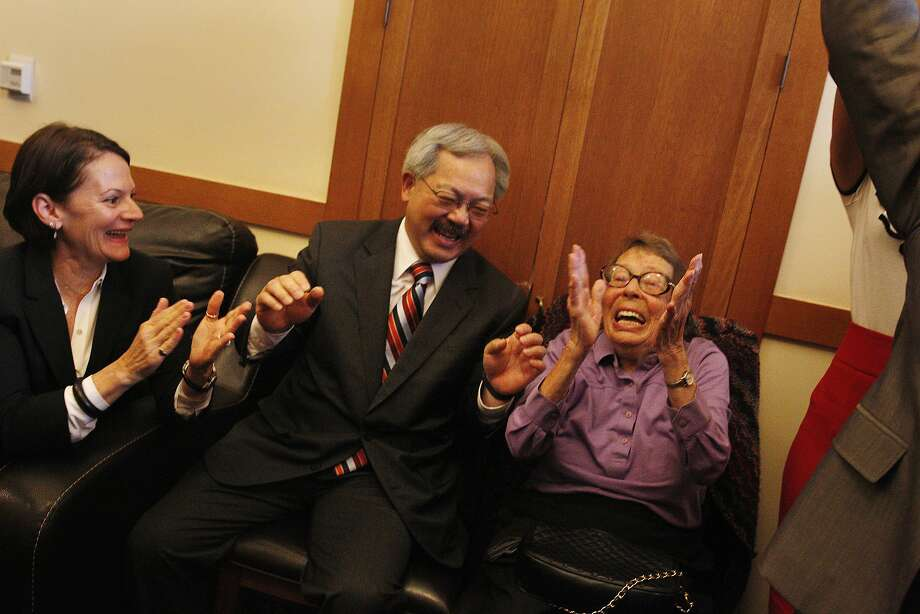 June 26, 2013:  (Left to right) Joyce Newstat, Mayor Ed Lee and Phyllis Lyon react as they listen to coverage of the Supreme Court rulings in the Mayor's Office at City Hall on Wednesday, June 26, 2013 in San Francisco.  The Supreme Court handed down their decisions dismissing California's Proposition 8 and striking down the Defense of Marriage Act. Photo: Lea Suzuki, The Chronicle