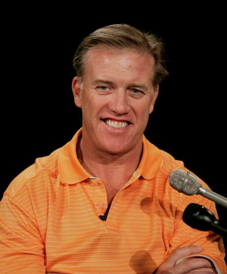 Colorado Crush co-owner John Elway talks about the Crush arena football game against Cleveland Gladiators in Denver, Wednesday, April 9, 2008. (AP Photo/Jack Dempsey) Photo: Jack Dempsey, STR / AP