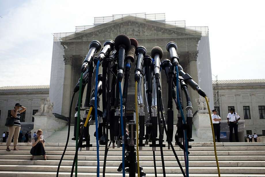 Media microphones at the Supreme Court building in Washington. Photo: Christopher Gregory, New York Times