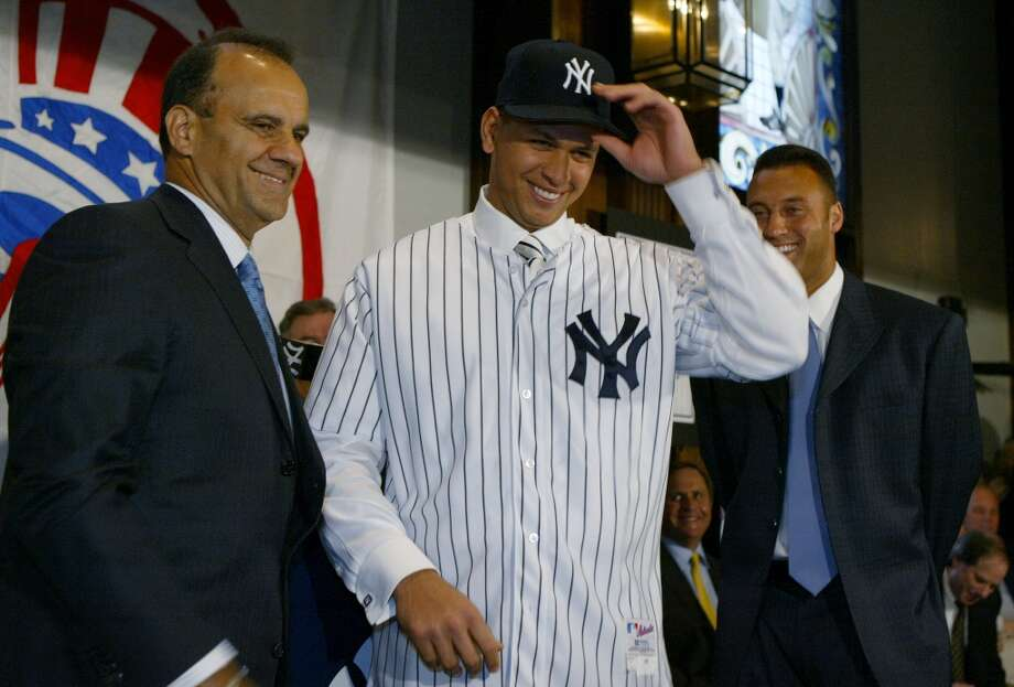 Alex Rodriguez is introduced as a New York Yankee by manager Joe Torre at a press conference on February 17, 2004, at Yankee Stadium in the Bronx, New York. Photo: Ezra Shaw, Getty Images / 2004 Getty Images