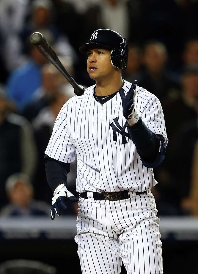 Alex Rodriguez of the New York Yankees reacts after striking out in the sixth inning with runners on base during Game Four of the American League Division Series against the Baltimore Orioles at Yankee Stadium on October 11, 2012 in the Bronx borough of New York City. Photo: Elsa, Getty Images / 2012 Getty Images
