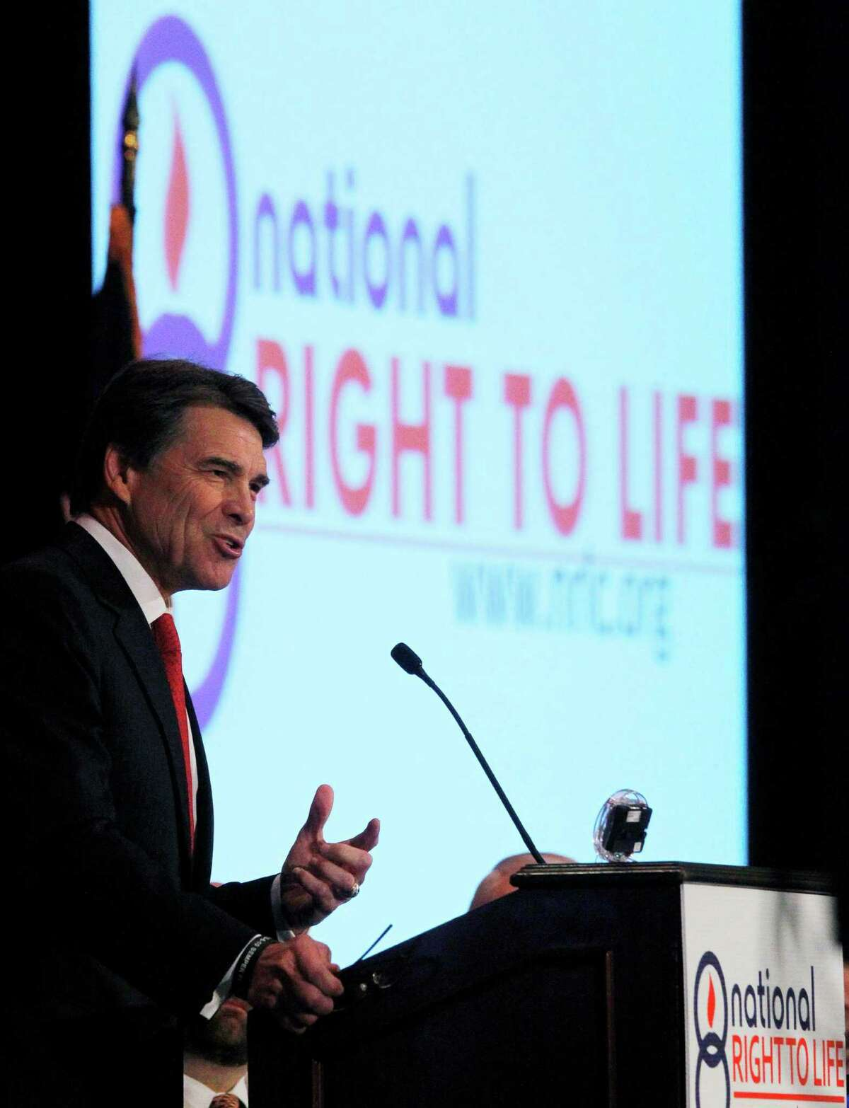 Gov. Rick Perry speaks during the general session of the 43rd annual National Right to Life Convention at the Hyatt Regency DFW International Airport, Thursday, June 27, 2013. (Rodger Mallison/Fort Worth Star-Telegram/MCT)