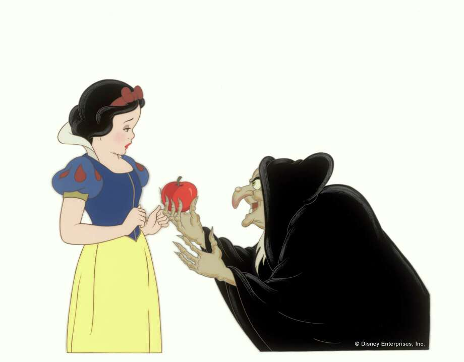 Snow White with the Witch Offering the Poisoned Apple. Disney Studio Artist Cel; ink and acrylic on cellulose acetate Courtesy Walt Disney Animation Research Library; c.Disney. / Copyright (C) reserved