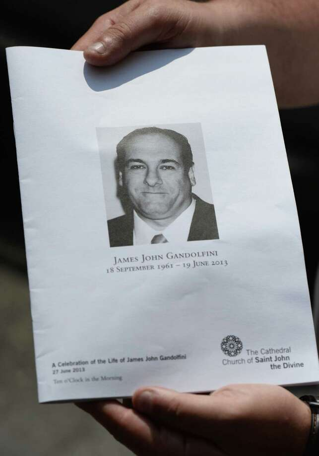 A view of the program given out at the funeral for actor James Gandolfini at The Cathedral Church of St. John the Divine on June 27, 2013 in New York City. Gandolfini passed away on June 19, 2013 while vacationing in Rome, Italy. Photo: Mike Coppola, Getty Images / 2013 Getty Images