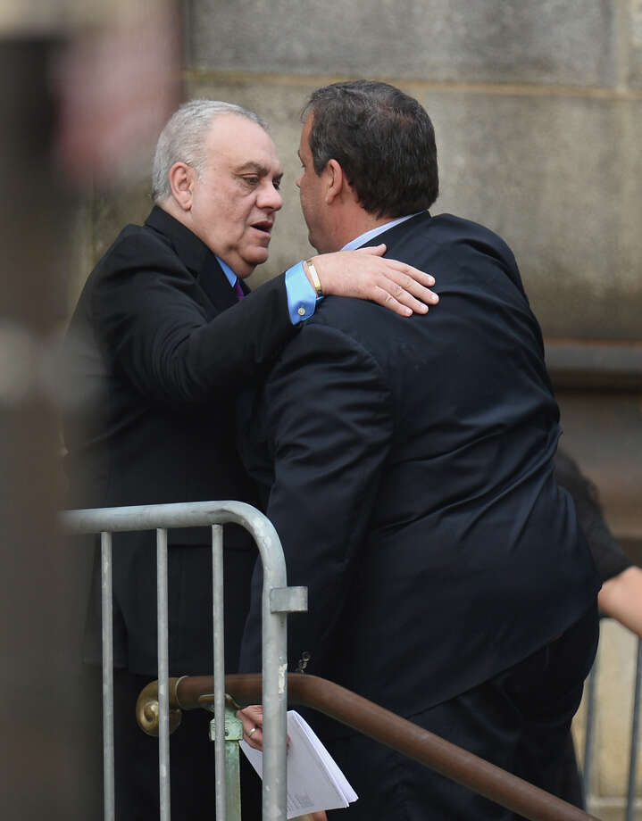 Actor Vince Curatola (L) and New Jersey Governor Chris Christie attend the funeral for Actor James Gandolfini at The Cathedral Church of St. John the Divine on June 27, 2013 in New York City. Gandolfini passed away on June 19, 2013 while vacationing in Rome, Italy. Photo: Mike Coppola, Getty Images / 2013 Getty Images