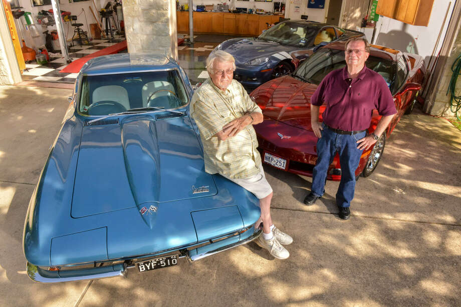 Neighbors Bernie Jensen (left) and Gary Hendley pose with their Corvettes: a 1966 Fastback, a 2012 Grand Sport and a 2009 Coupe. Photo: Robin Jerstad, For The Express-News