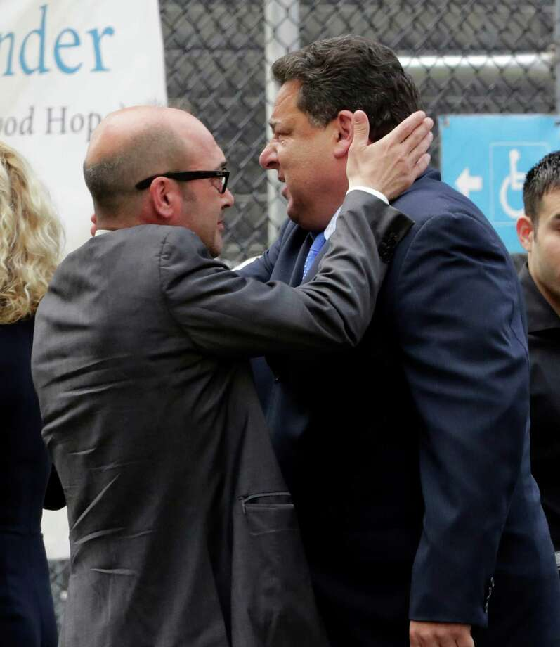 "Actors John Ventimiglia, left, and Steve Schirripa arrive for the funeral service of James Gandolfini, star of ""The Sopranos,"" in New York's the Cathedral Church of Saint John the Divine,  Thursday, June 27, 2013. The 51-year-old actor died of a heart attack last week while vacationing in Italy with his son. Photo: Richard Drew, Associated Press / AP"