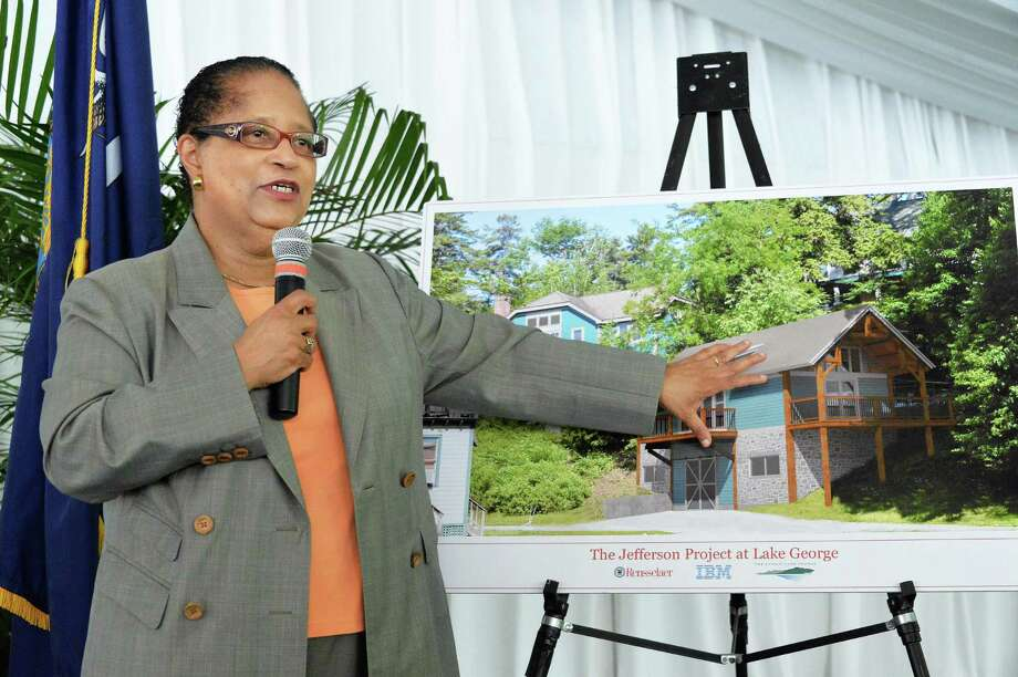 RPI president Shirley Ann Jackson during the announcement by RPI and IBM of plans to place sensors throughout the lake to monitor everything from invasive species and pollutants to water temperature and currents in Bolton Landing,NY, Thursday June 27, 2013.   (John Carl D'Annibale / Times Union) Photo: John Carl D'Annibale / 00022999A