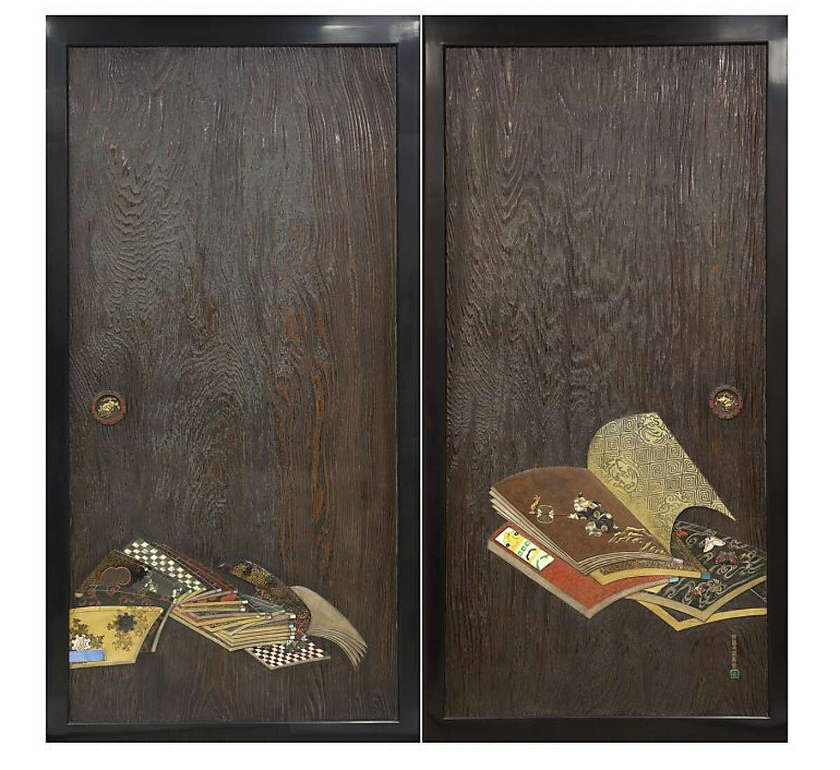 Sliding wooden doors with books, seal of Ogawa Haritsu (Japanese, 1663 1747), Edo period (1615 1868). Pair of sliding wood doors (itado); cypress wood with lacquer, metal, and ceramic inlays The Larry Ellison Collection.