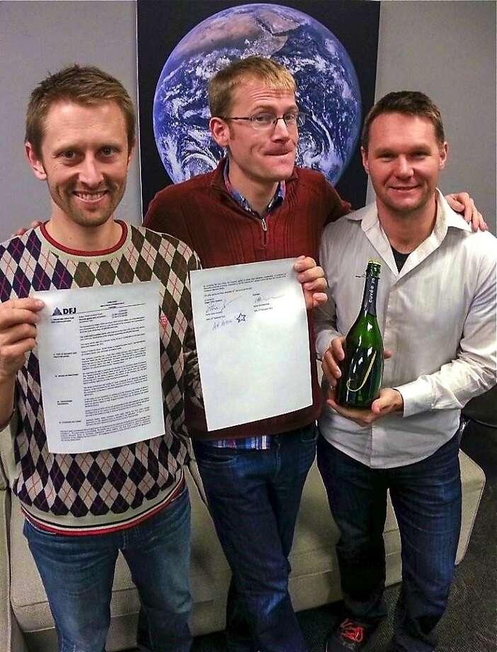 Chris Boshuizen, William Marshall and Robbie Schingler celebrate funding for Planet Labs. Photo: By Steve Jurvetson, Planet Labs