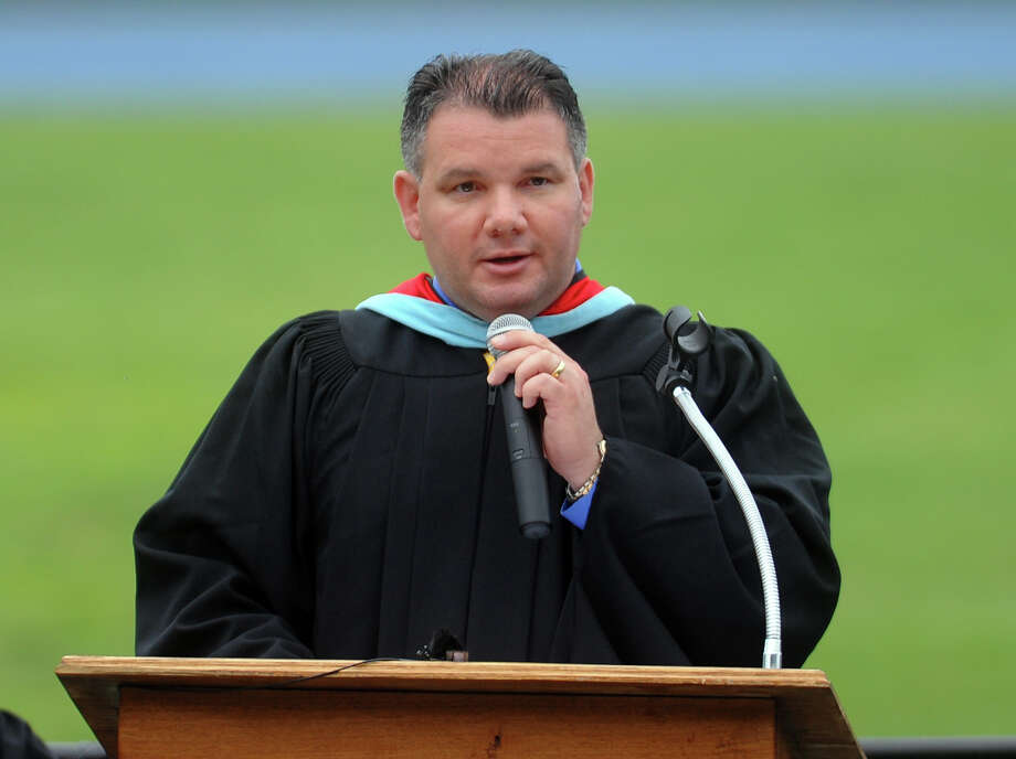 Principal Glenn Lungarini speaks during Seymour High School's 126th Annual Commencement in Seymour, Conn. on Thursday June 27, 2013. Photo: Christian Abraham / Connecticut Post