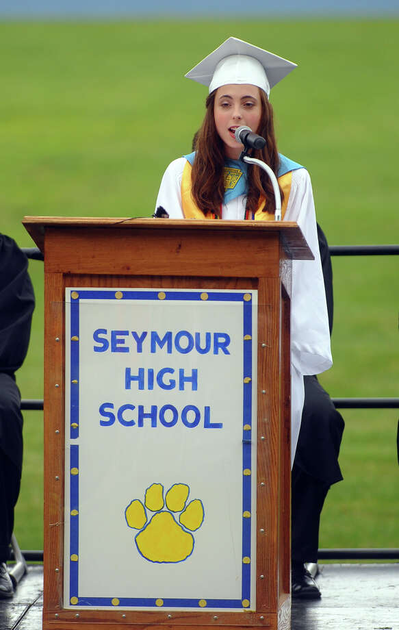 Class Salutatorian Krista Pereira during Seymour High School's 126th Annual Commencement in Seymour, Conn. on Thursday June 27, 2013. Photo: Christian Abraham / Connecticut Post