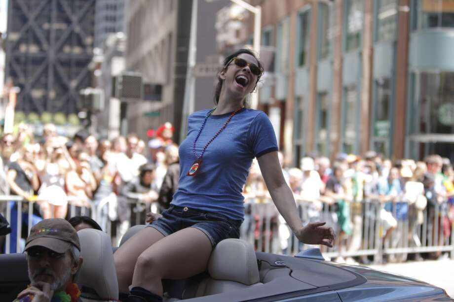 Sarah Silverman participates in the San Francisco Pride Parade, held on June 24, 2012, on Market Street, in San Francisco, Calif.