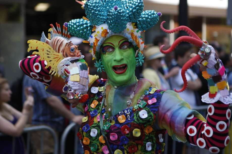 Elaborate costumes and vibrant colors add excitement and life to the San Francisco Pride Parade in 2011.